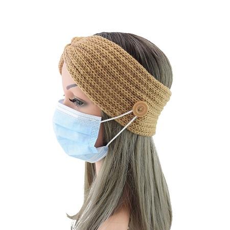 Winter hoofdband bruin, ook voor mondmasker