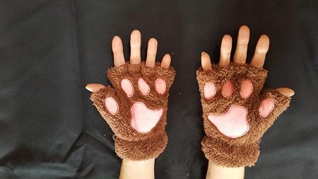 Vingerloze handschoenen bruin