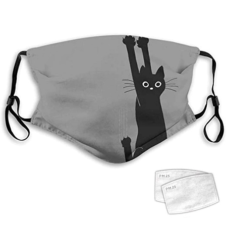 Mondmasker grijs met katje