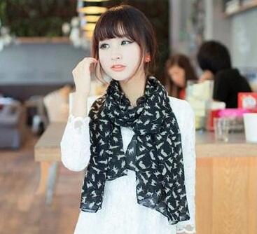 Sjaal kattenmotief zwart